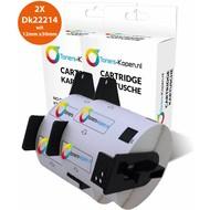 Toners-kopen.nl 2x huismerk toner voor Brother Dk22214 wit 12mm X 30mm