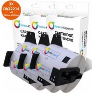 Toners-kopen.nl 3x huismerk toner voor Brother Dk22214 wit 12mm X 30mm