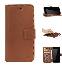 Celkani ® - Lederen Book Wallet ID (brown TPU) - iPhone 6/6s - Verbrand bruin