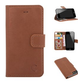 Celkani ® - Lederen Book Wallet ID (black plastic) - iPhone 5/5s - Verbrand bruin