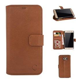 Celkani ® - Lederen Book Wallet ID (black plastic) - Samsung S6 Edge - Verbrand bruin