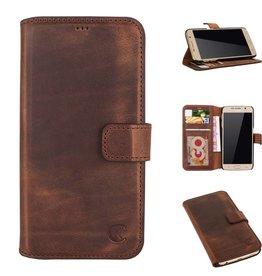 Celkani ® - Lederen Book Wallet ID (black plastic) - Samsung S6 - Antiek Bruin