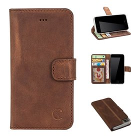 Celkani ® - Lederen Book Wallet ID (transparant TPU + brown suède) - iPhone 5/5s - Antiek bruin