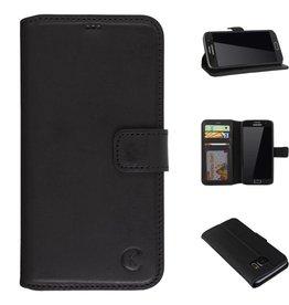 Celkani ® - Lederen Book Wallet ID (black plastic) - Samsung S7 - Verbrand zwart