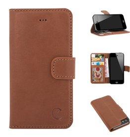 Celkani ® - Lederen Book Wallet ID (black plastic) - iPhone SE - Verbrand bruin
