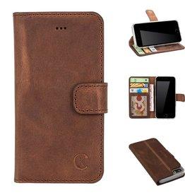 Celkani ® - Lederen Book Wallet ID (transparant TPU + brown suède) - iPhone SE - Antiek bruin