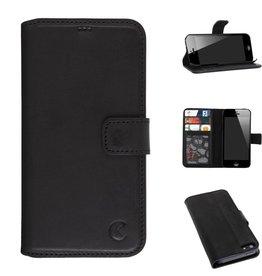 Celkani ® - Lederen Book Wallet ID (black plastic) - iPhone SE - Verbrand zwart