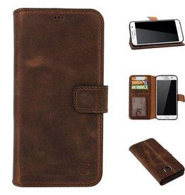 Celkani ® - Lederen Book Wallet ID (black TPU) - Samsung S7 - Antiek bruin