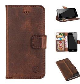 Celkani ® - Lederen Book Wallet ID (black plastic) - iPhone 5/5s - Antiek bruin