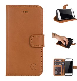 Celkani ® - Lederen Book Wallet ID (black TPU) - iPhone SE - Verbrand lichtbruin