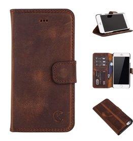 Celkani ® - Lederen Book Wallet ID (black plastic) - iPhone 6/6s Plus - Antiek bruin