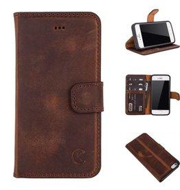 Celkani ® - Lederen Book Wallet ID (black TPU) - iPhone 5/5s - Antiek bruin