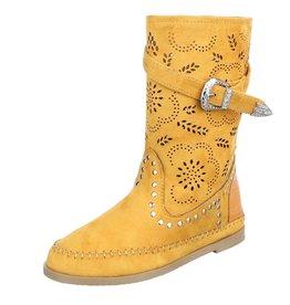 Damen Stiefel Schuhe Perforierte Boots Gelb Orange