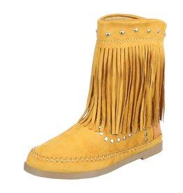 Damen Stiefel Schuhe Boots Fransen Gelb Orange