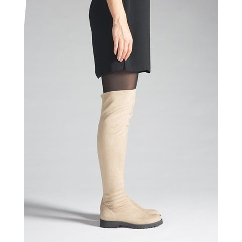 Maxima Plat, Stretchlaars Overknee Taupe