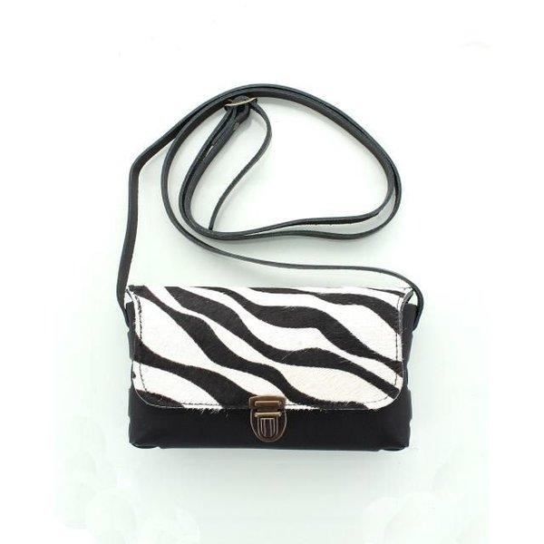 Pelle, Leren Tas Zwart Zebra