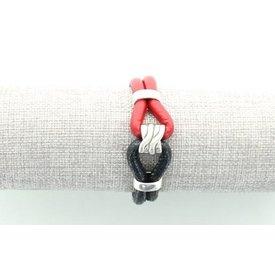Leren Armband, Rood/ Zwart