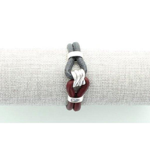 Leren Armband, Bordeaux/ Grijs