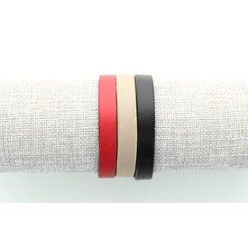 Leren Armband, Zwart/ Rood/ Zand