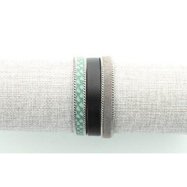 Leren Armband, Groen/ Grijs