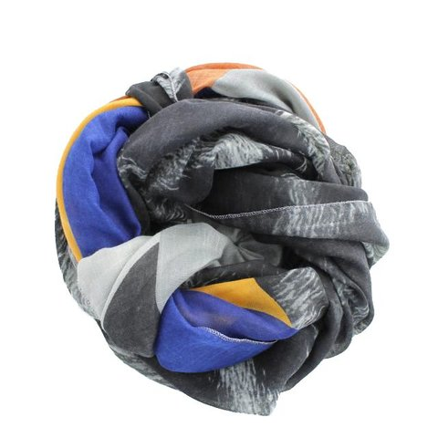 Sjaal, Grijs Panterprint/ Royal Blue/ Geel