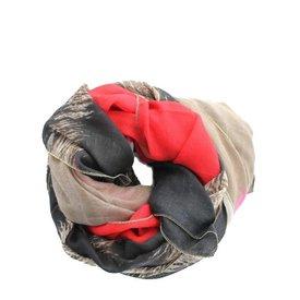 Sjaal, Bruin Panterprint/ Rood/ Oranje