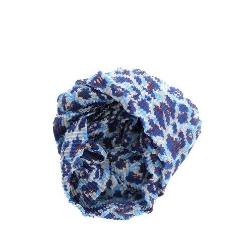 Sjaal, Royal Blue/ Lichtblauw Panterprint