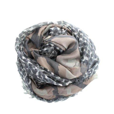 Sjaal, Taupe/ Grijs Panter
