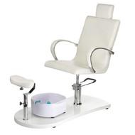 Mega Beauty Shop® Pedicurestoel SPA incl. voetenbad Zilver/Wit