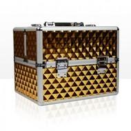 Mega Beauty Shop® Aluminium koffer 3D met opbergvakken Gold