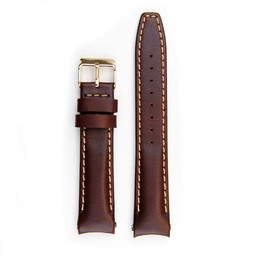 Everest Rolex straps brown ABS Curved End Leather Strap with Tang Buckle, EH8BRN