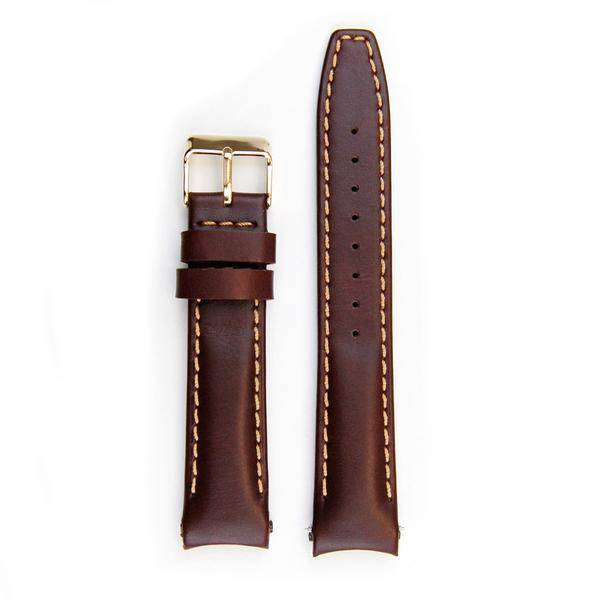 Everest Rolex straps Everest brown ABS Curved End Leather Strap with Tang Buckle, EH8BRN