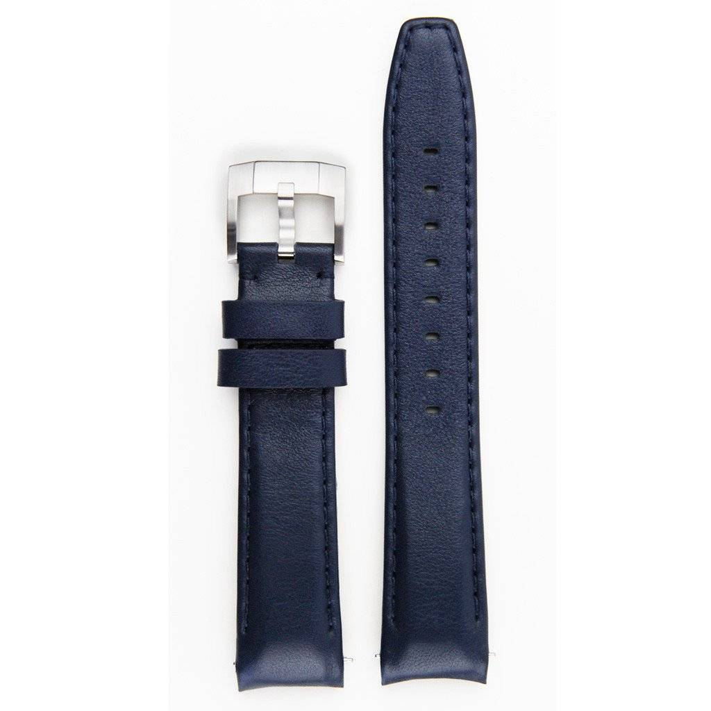Everest Rolex straps Everest blue ABS Curved End Leather Strap with Tang Buckle, EH8BLU
