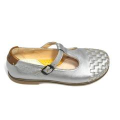 Ocra T-band schoen, zilver met gevlochten tip LAATSTE STUK! 30