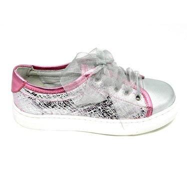 Eli Sneaker, metallic roze met glitters