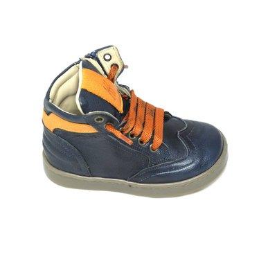 Jeune fille en fleur Sneaker, blauw met oranje accenten