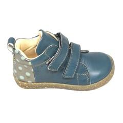 Ocra Hoge sneaker velcro, petrolblauw met bloemetjes hiel 22,23