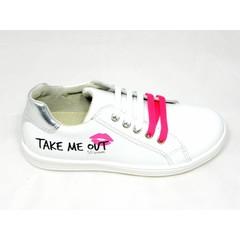 EB EB sneaker wit met opschrift roze accenten 31,32,33