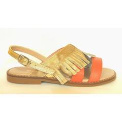 Eli Sandaal koraal/gouden franjes 28.29.30.33.34