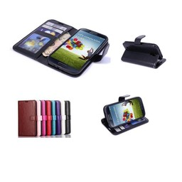 Lederen wallet hoes Samsung Galaxy S4