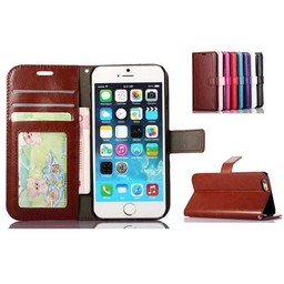 Lederen wallet hoes iPhone 5 / 5S