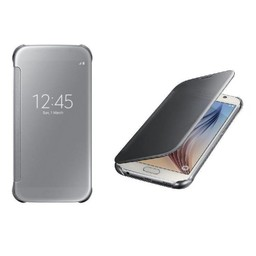 Zilvere Clear View cover hoes - Samsung Galaxy S6