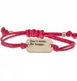 """Armband """"Don't worry, be happy"""" rosa"""