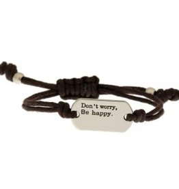 "Armband ""Don't worry, be happy"" braun"