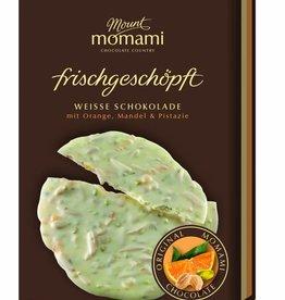 Frischgeschöpfte Weiße Schokolade - Orange, Mandel & Pistazie