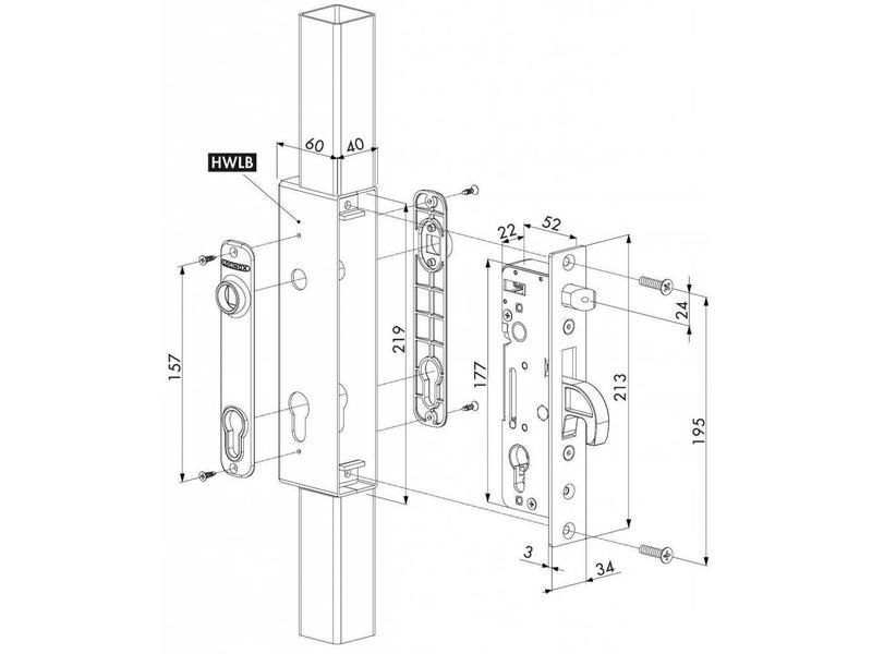 H-METAL-WB | Insteekslot met 35 mm doornmaat voor inlaskast