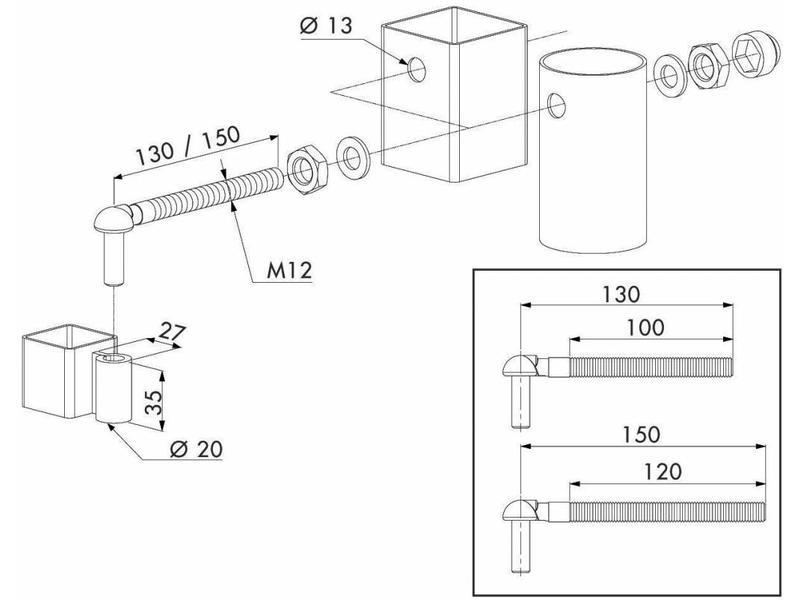 Locinox GAM12   Scharnierset voor tuinpoorten