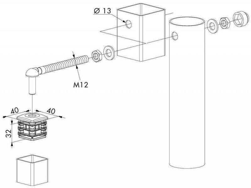 GBM12-DP40 | Scharnierset voor tuinpoorten