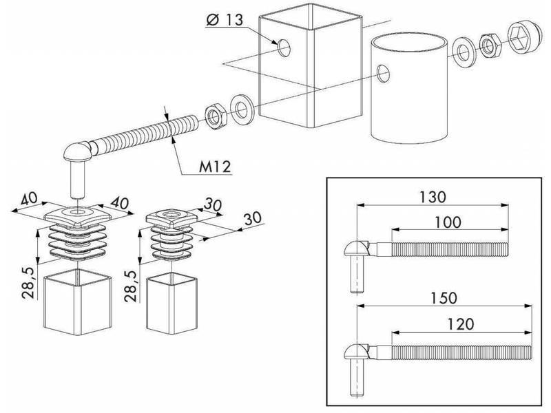 Locinox Scharnierset voor tuinpoorten GBM12 | Locinox