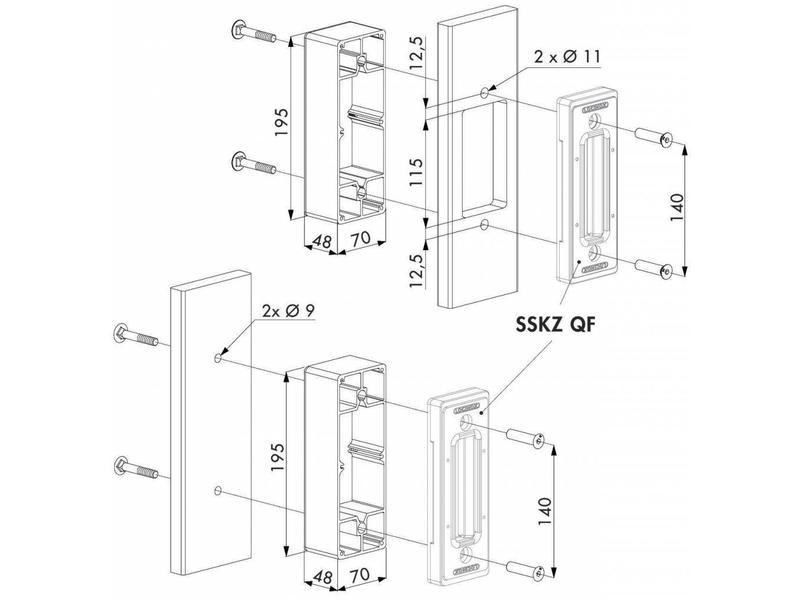 O-SET | Aluminium adapter bakje voor platte profielen